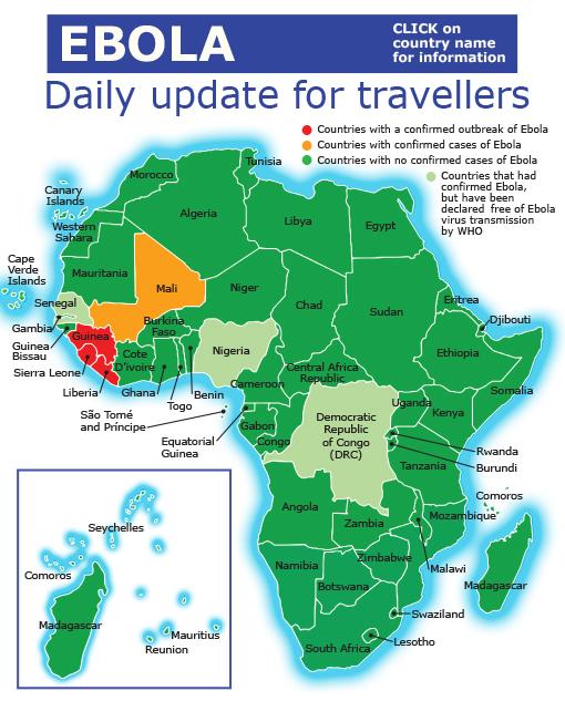 Ebola Africa Map